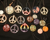 Clay peace sign necklaces, peace medallion, peace jewelry, peace sign pendant, pottery