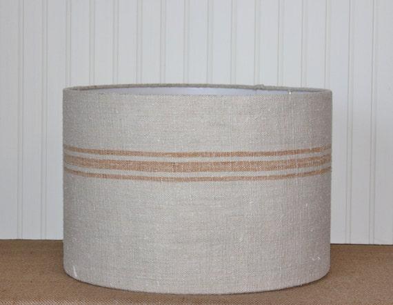 grain sack drum lampshade caramel. Black Bedroom Furniture Sets. Home Design Ideas