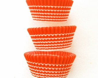 Orange Horizon Stripe Cupcake LIners (50)