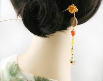 Golden peach blossom hair stick (HS) - jasper, jade and topaz