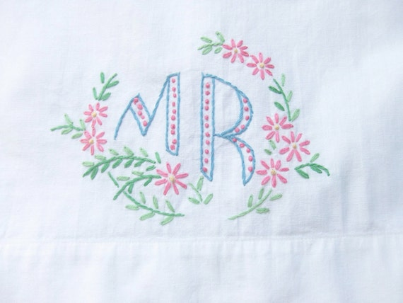 Vintage Pillowcase Embroidered MR with Pink Lace