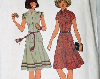 Vintage 1970s, Sewing Pattern, Simplicity 7481, Two-Piece Dress, Misses' Size 16