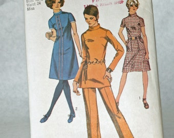 Vintage 1970s, Sewing Pattern, Simplicity 9063, Dress or Tunic and Pants, Misses' Size 10