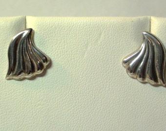 Petite Stud Earrings 925 Sterling Silver Post from 1980s Fan Wave Modernist On SaLe Now