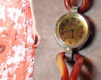 ARMEX 17 Jewels Yellow Bakelite Bangle  wrist watch brown ROOTBEER from 1940s working  On SaLe Now