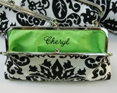Embroidered Monogram or name on interior of bridesmaids clutch