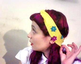 Crochet, Yellow, Flowers, Headband Ear Warmer