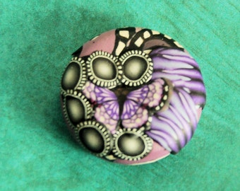 FREE SHIPPING OFFER Beautiful purple butterfly polymer clay focal bead