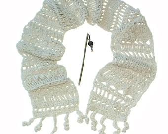 White Cotton Scarf Freestyle Crochet OOAK Women's Fashion scarf