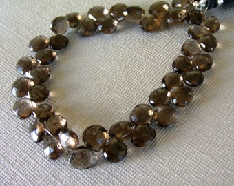 ON SALE Light brown smoky quartz faceted heart briolette- 6-7mm- 12 brios
