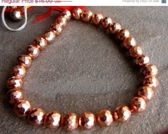 SALE, Copper pyrite, Pyrite, Copper, Faceted, Round, Bead, Beads