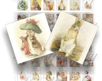 Beatrix Potter 1x1 inch for pendant, scrapbook and more Digital Collage Sheet No.1177