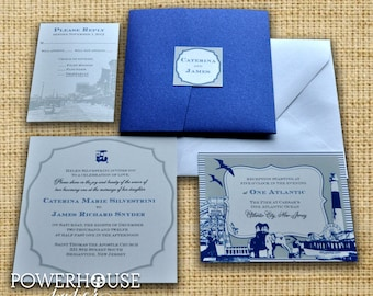 Atlantic City Pocket fold Wedding Invitation