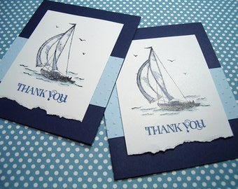 Thank You Card Set -  Sail Boat - hand stamped