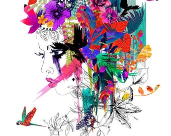 Tropical Girl // A3 Giclée print // FASHION ILLUSTRATION by Holly Sharpe