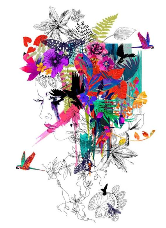 Tropical Girl // A3 Giclée print // FASHION ILLUSTRATION by Holly Sharpe