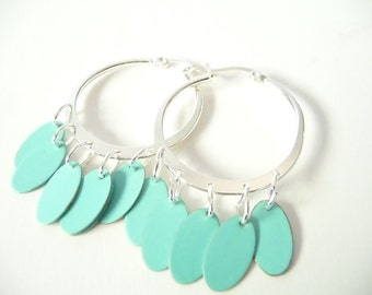 Silver Hoops with Turquoise Ovals  - Turquoise Hoop Earrings