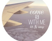 airplane, inspirational art, song lyric, whimsical photography, traveler art, travel, purple sky, pastel print,  fine art photograph