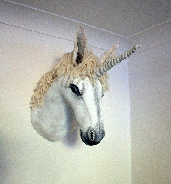 Fabric Taxidermy unicorn trophy head