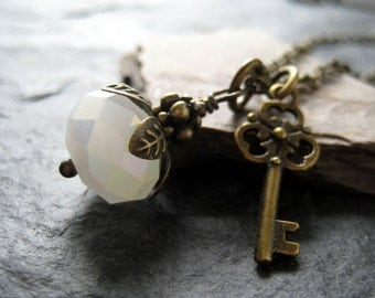SALE - Snow White Crystal and Brass Necklace Vintage Inspired