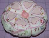 Shabby Chic Hearts Pin Cushion
