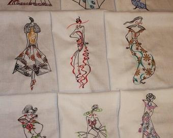 High Fashion Silhoette Ladies Machine Embroidered Quilt Blocks Set