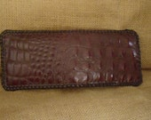 Handmade Leather ALLIGATOR WALLET BROWN Laced