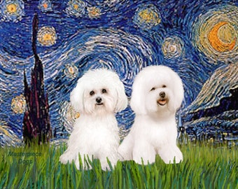 8 x 10 PRINT - Van Gogh's Starry Night  Adaptation with Two Bichon Frise