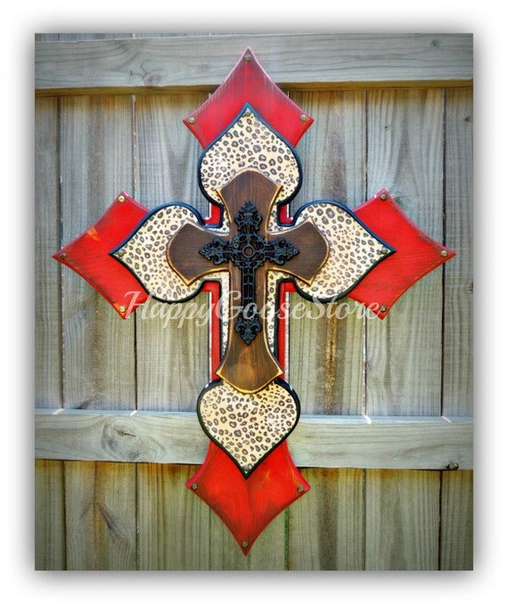 Wall CROSS - Wood Cross - X-Large - Antiqued Red, Brown, & leopard print, with black iron cross