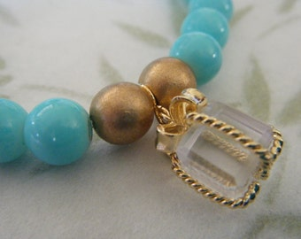 Robins Egg Blue and Gold Glass Beaded Stretch Bracelet with Clear Crystal Gold Box Present Charm