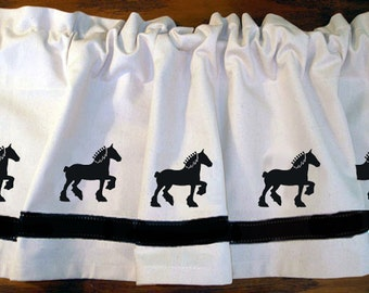 Clydesdale Horse Window Valance Curtain - Your Choice of Colors