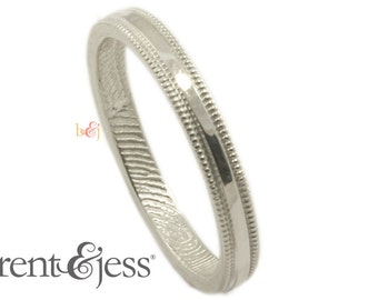 Milgrain Edge Fingerprint Wedding Band with Interior Wrapped Print in Sterling Silver