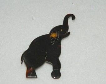 Vintage Hand Carved Turtoiseshell Elephant Brooch Pin