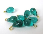 Vintage Glass Bead Drops Emerald Green Teardrop Charms Embedded Wire Loops 11mm vgb0587  (8)