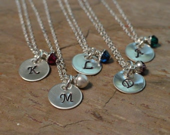 Personalized Initial Charm Necklace - Birthstone Jewelry - Mothers Necklace - Sterling Silver - Handstamped Necklace