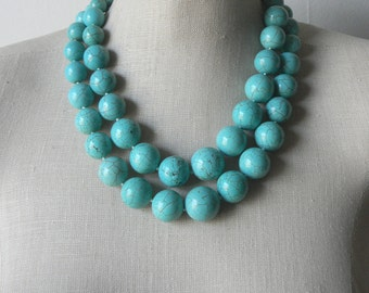 Turquoise Chunky Double Strand  Beaded Necklace