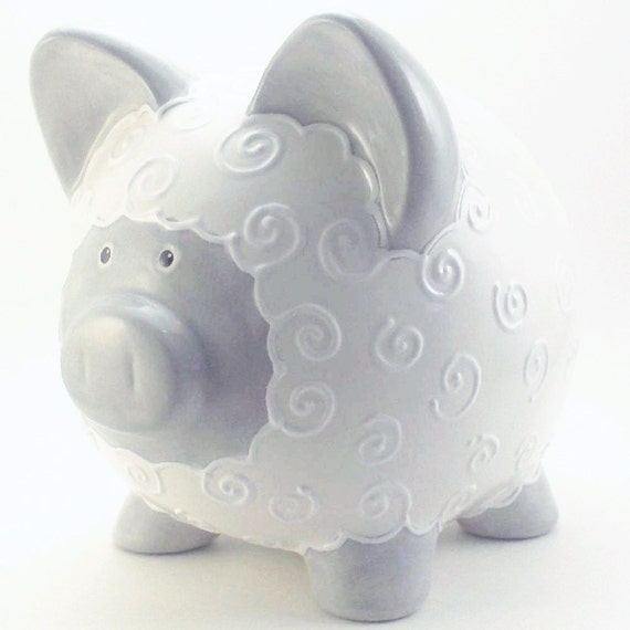 Personalized Piggy Bank - Lamb - Gray -  with hole or NO hole in bottom