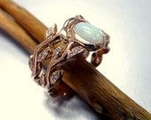 Engagement ring with opal and diamonds. Opal ring set.  Leaf engagement ring set.  14k rose gold opal ring.