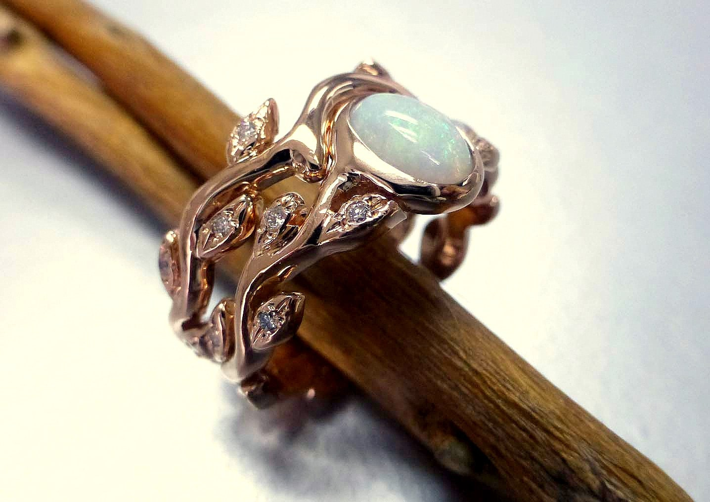 Engagement ring with opal and diamonds. Opal by ValerieKStudio