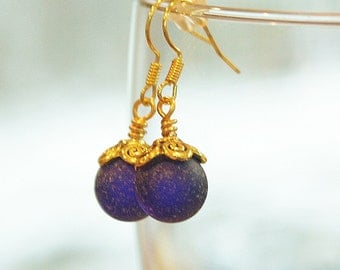 Eco friendly Cobalt Blue Sea glass marble with Tibetan style gold plated  Earring hooks.