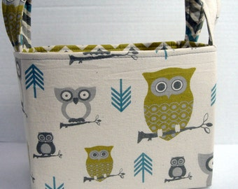 Large Gray, Green and Turquoise Owl Basket
