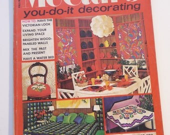 McCalls 1971 Magazine, You Do It Decorating, Fall Winter,vintage magazine, Victorian designs, needlepoint, Waterbed, Christmas ideas,old ads