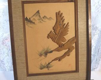 SALE vintage Asian Art, wall hanging, vintage art, eagle, bird, wood, fabric, paint, frame, unique, Oriental, vintage home decor,dimensional