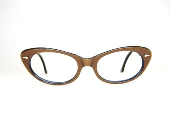 Vintage 50s Satin Brown Cat Eye Eyeglasses Sunglasses Frame Germany