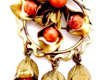 Unusual Art Nouveau Brass Dangling Flower Pin