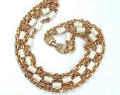 Multi Strand Beaded Chain Link Vintage Necklace Chunky Costume Jewelry