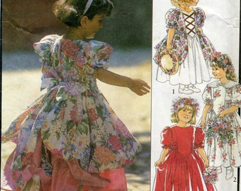 Vintage Style 2062 UNCUT Girls Rennaissance Flower Girl Dress, Pageant Party Dress Sewing Pattern Size 3-8