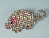Dorothy Bauer AB Rhinestone Pig Pin Brooch Vintage
