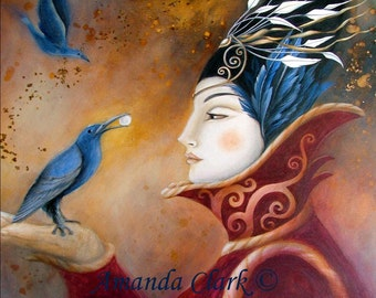 Art print. The Queen and Blue Crow by Amanda Clark