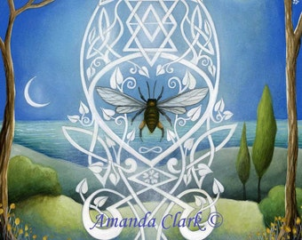 Sacred Bee  Art print by Amanda Clark.